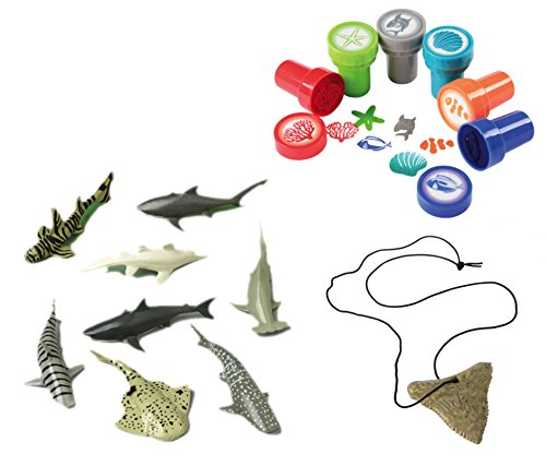 William & Douglas Shark Party Bundle | Party Favors include Shark Tooth Necklaces, Shark Toy Figures, Coral Reef Stampers