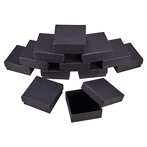 BENECREAT 12 Pack Kraft Square Cardboard Jewelry Boxes Necklace Ring Earring Kraft Box for Jewelry Set, 3.34x3.34x1.37 Inches, Black