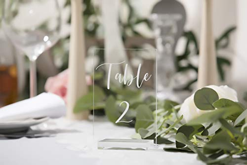 (UNIQOOO Acrylic Wedding Table Numbers 1-20 | 4x6 inch Printed Calligraphy, Clear Table Number Signs | Perfect for Reception, Centerpiece Decoration, Restaurant, Event, Party -Base NOT Included)
