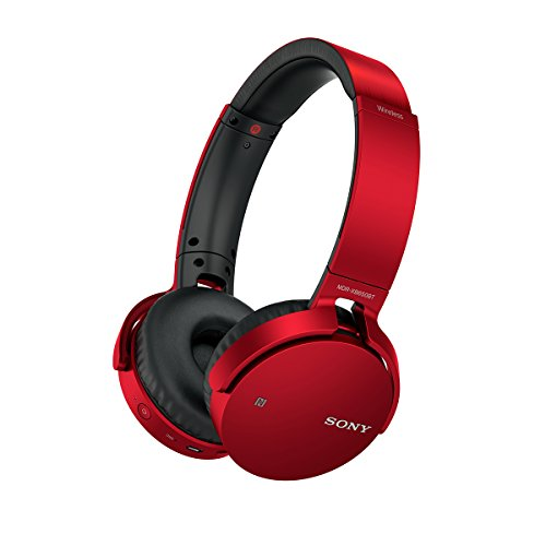 Sony MDRXB650BT/R Extra Bass Bluetooth Headphones, Red