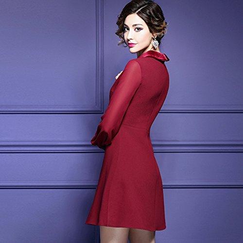 Robes De Ligne Cotylédon Women`sa Col Haut Robe Boutonnière De Taille