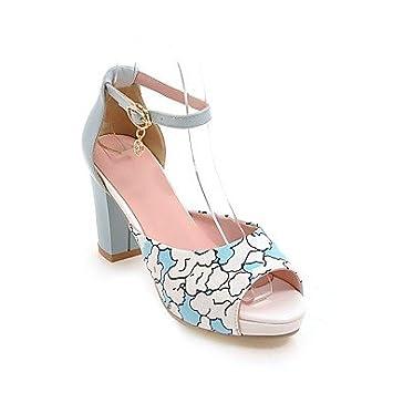 ad97435acc07e zhENfu Women s Sandals Slingback Leatherette Summer Casual Buckle Chunky  Heel Blue Red White 3in-3