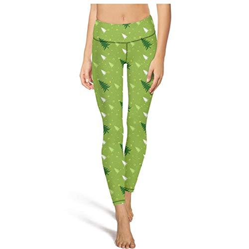 (Mackiintion Women's Green Christmas Tree Yoga Pants Sports Workout Leggings Tight Pants)