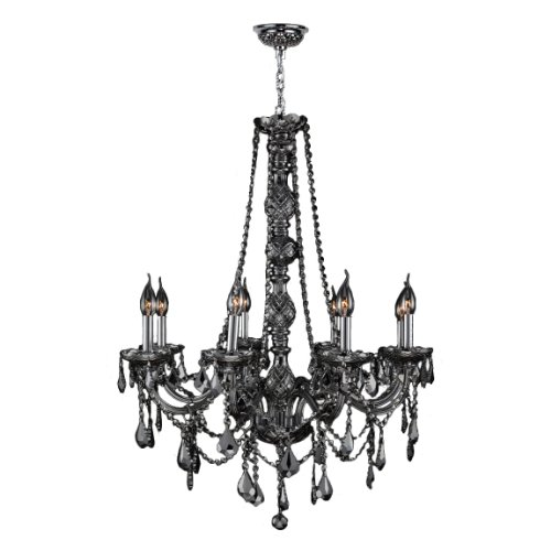 Worldwide Lighting Provence Collection 8 Light Chrome Finish and Smoke Crystal Chandelier 28