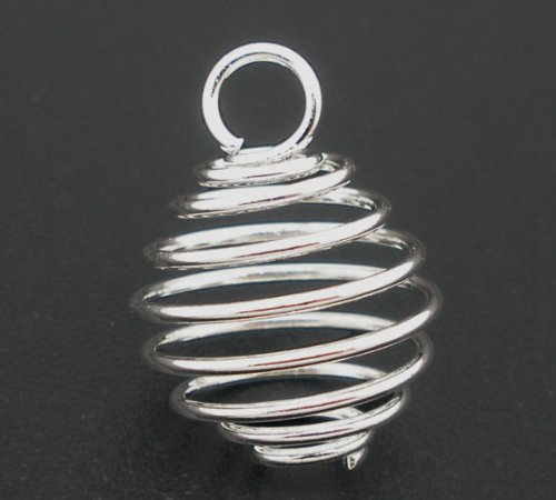 (Laliva Alloy Spiral Bead Cages Pendants Lantern Silver Color 15mm(5/8