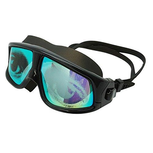 - Adult Black Swim Mask with UV Mirror Anti-Fog Coated Lenses & Eye Graphics