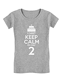 Birthday Cake I Can't Keep Calm I'm Two Kids Funny/Kids Girls' Fitted T-Shirt