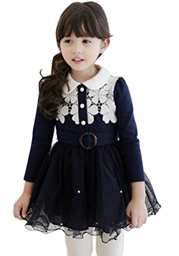 Little Girl's Lace Flower Princess Tulle Tutu Winter Dresses with Waistband Navy (Baby Doll Top Tiered)