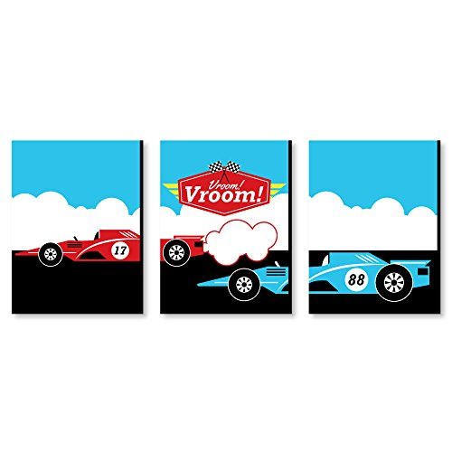 Big Dot of Happiness Let's Go Racing - Racecar - Nursery Wall Art, Race Car Kids Room Decor and Game Room Home Decorations - 7.5 x 10 inches - Set of 3 Prints]()