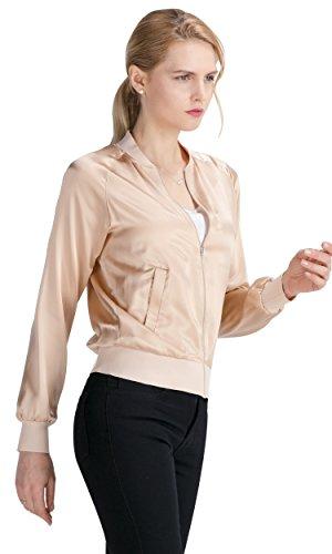 LilySilk Silk Jacket Women Bomber Pure Mulberry 22MM Insanely Comfortable Zipper Long Sleeve Baseball Style Light Camel L/12 by LilySilk (Image #1)