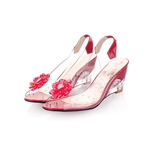 JJLIKER Women Floarl Rhinestone Clear Flatform Wedge Open Toe Sandals Ankle Strap Slingback Slip-On Heels Shoes Red ()