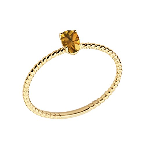 Citrine Ring Shaped Oval (Dainty 10k Yellow Gold Stackable Oval-Shaped Citrine Rope Engagement/Promise Ring (Size 5.5))