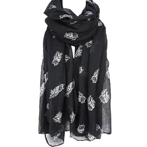 Clearance Scarf,Han Shi Women Fashion Owl Print Long Cute Shawl Soft Voile Scarves Wraps (Black, L)
