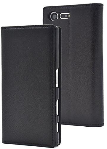 ラケット障害者迷信PLATA Xperia X Compact SO-02J ケース 手帳型 ラム シープスキン 羊革 本革 レザー カバー 【 ブラック 黒 くろ black 】