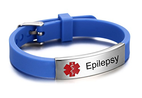 Epilepsy Medical Alert ID Bracelet for Kids and Adult With Silicone Wristband -8 Size Adjustable,Blue