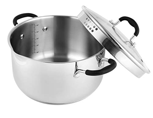 AVACRAFT Stainless Steel Stockpot, Saucepan with Glass Strainer Lid, Two Side Spouts for Easy Pour with Ergonomic Handle, Multipurpose Stock Pot, Sauce Pot ()