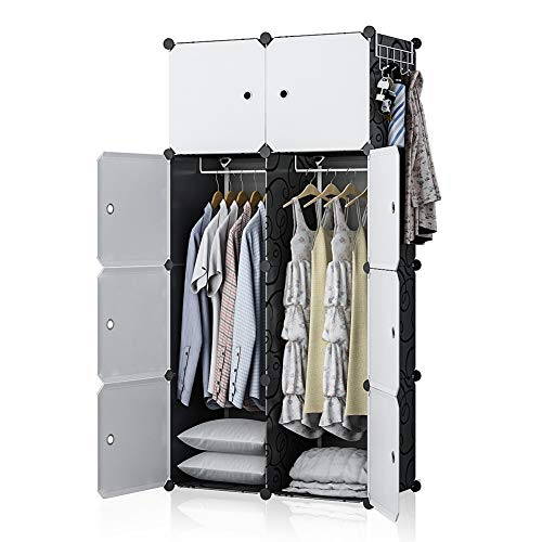 YOZO Modular Wardrobe Clothes Closet Plastic Dresser Multi-use Portable Cube Storage Organizer Bedroom Armoire, 8 Cubes, Depth 18 inches, Black