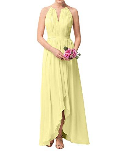 Rock Festlichkleider Abendkleider Gelb Partykleider Einfach Brau Chiffon La Linie mia Langes A Brautjungfernkleider IqwpPFqg0