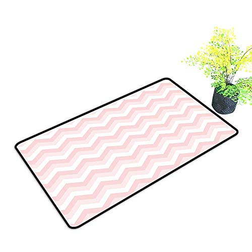 Durable Outdoor Entrance Mat Zigzag Chevron Pattern Soft Light Colors Simplicity Artful Design Provides Protection and Cushion for Floors W39 x H15 INCH
