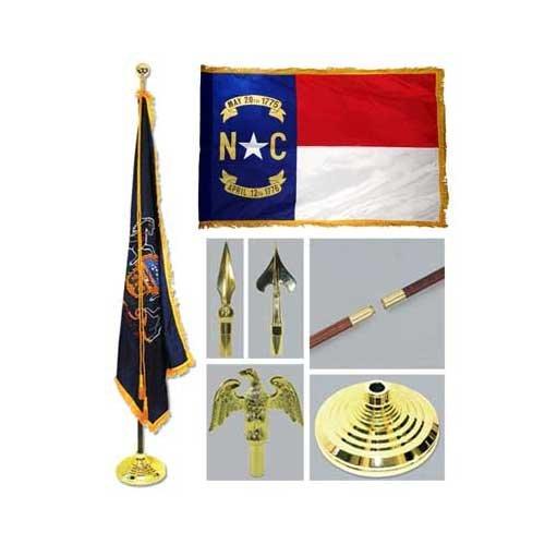 North Carolina 3ft x 5ft Flag Flagpole Base and Tassel by US Flag Store
