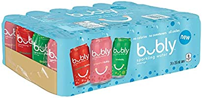 bubly Sparkling Water, Multipack, 355mL Cans, 24 Count, Lime, Grapefruit, Strawberry, 9.45 Liter