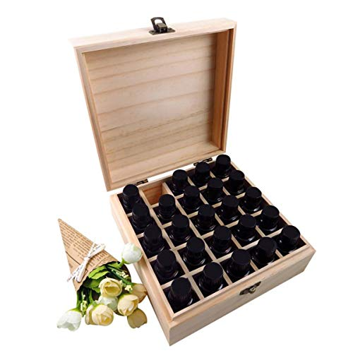 - 2TRIDENTS 25 Slots Wooden Multifunctional Storage Box - Aromatherapy Bottles Storage Organizer for Home Essential Oils Box