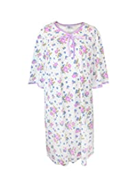 Silverts Disabled Elderly Needs Womens Soft Knit Adaptive Pattern Hospital Gown - Open Back - Rose Print MED