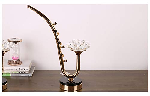 Crystal Lotus Candle Holders Decoration Creative Saxophone Glass Metal Candlestick Fashion Home Crafts Ware New House Soft Dress Romantic Candlelight Dinner Bracket Desktop Candle Cup (Size : L)