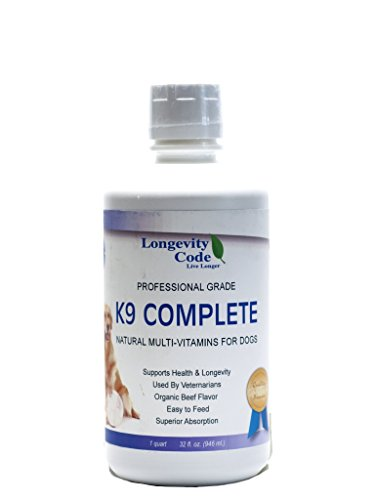 Longevity Code Live Longer K9 Complete - 32 FL OZ, Pro-Grade Liquid Multi-Vitamins for Dogs