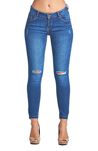 2LUV Women's Stretchy 5 Pocket Stretchy Distressed Skinny Ankle Jeans Denim Medium (Bleach Denim)