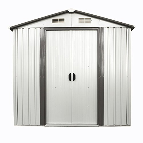 Bestmart inc new 4 39 x 6 39 outdoor steel garden storage for Storage shed overhead door
