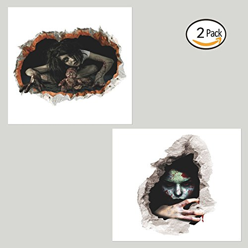 Wall Stickers Halloween 3D Horror Ghost Stickers Removable Broken Female Ghost Wall Stickers Waterproof Home Decor Strong Paste Kid Room Bedroom Living room decoration(2 PACK)