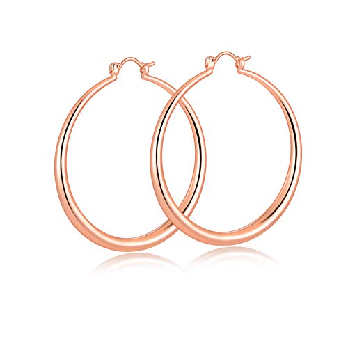 (Rose Gold Large Hoop Earrings for women,50X50mm,Unique Fashion Earrings for Girls. ...)