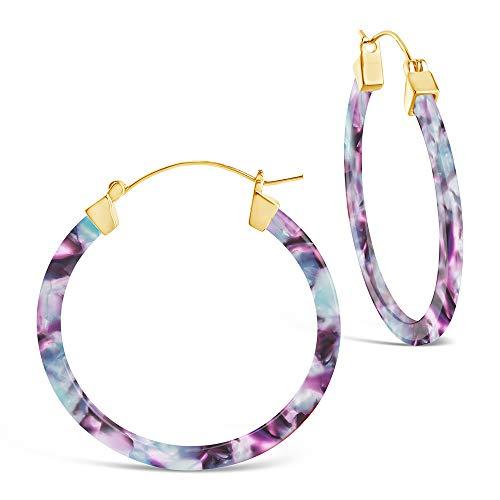 Sterling Forever - 50mm Resin Hoop Earrings (in multiple styles) (Water Lily)