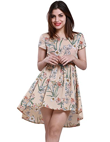 Belted Floral Belt (Fancyqube Women's Boho Style Short Sleeve High Low Dress Chiffon Floral Print Midi Dress With Belt Apricot L)