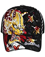 Embroidered Dragon with Rhinestones Mesh Back Hat Cap - Black
