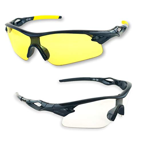 (iLumen8 Best Shooting Glasses UV Blacklight Flashlight Yellow Safety Eye Protection See Dog Cat Urine with Amber Black Lights Night Vision Ultraviolet (Yellow & Clear, 2 Pair))