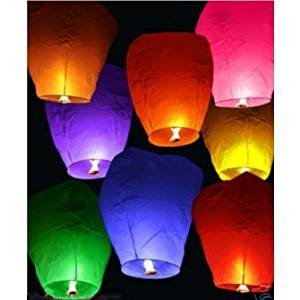 Flying Sky Lantern Lanterns Pack of 10 Coloured Hot Air Balloon Flying Chinese Lantern Compribene