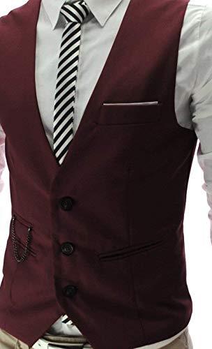 Tuta Slim Gilet Vest Uomo Fit Senza Business Da Abbottonatura Maniche Blazer Scollo A Winered V Vintage Casual 76qPxw