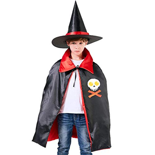 Wodehous Adonis Eggs And Bacon Skull Crossbones Kids Halloween Costume Cape Witches Cloak Wizard Hat -