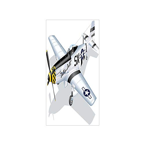 3D Decorative Film Privacy Window Film No Glue,Vintage Airplane Decor,P 51 Mustang Dallas Doll Detailed Illustration American Air Force Decorative,Multicolor,for Home&Office - P-51 Mustang Air Show