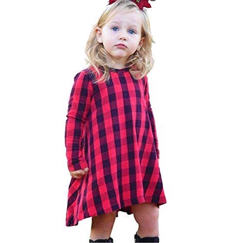 MINSINHO Baby Girl Long Sleeve Plaids Checked Party Princess Floral Dresses Tutu (5-6 Years)