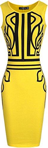 Jeansian Mujer Elegante Retro Vestido De Sin Mangas Vestidos De Noche Women Elegant Retro Printed Evening Gowns Dress WKD199 Yellow
