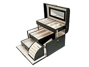 Sodynee? Black Pu Leather Jewelry Display Box Organizer Tray Lockable Makeup Storage Case with Mirror