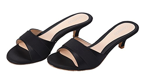 CAMSSOO Women's Summer Open Toe Satin Bowknot Sandals Mid Heeled Outdoor Slippers Party Wedding Slip on Shoes #2 Black Satin q2BecESDrU