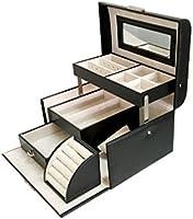SodyneeBlack Pu Leather Jewelry Display Box Organizer Tray Lockable Makeup Storage Case with Mirror