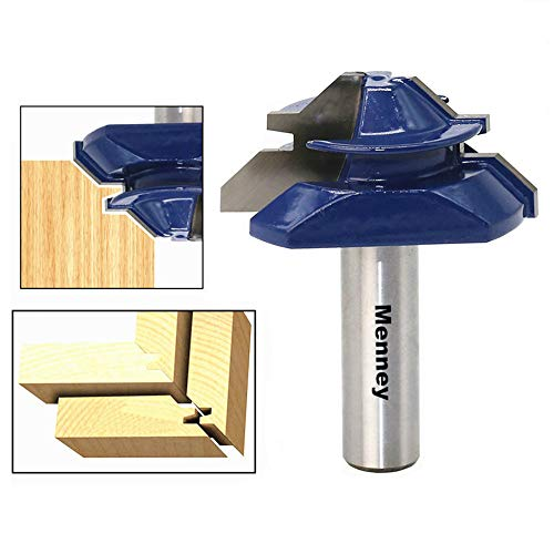 Menney Medium Lock 45 Degree Miter Router Bit, Milling Router Bit 1/2-Inch Shank Best Woodworking Cutter Tool For Wood, Door, Shelves, Table & Density Board