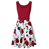 KYLEON Women's Midi Dresses Sleeveless Floral Printing O-Neck A Line Waistline Casual Summer Party Flared Tank Dress