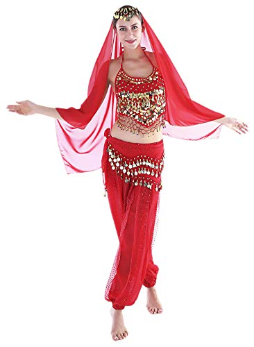 Seawhisper Red Adult Genie Costumes Women Arabian Belly Dancer Costume Pants Top Veil]()
