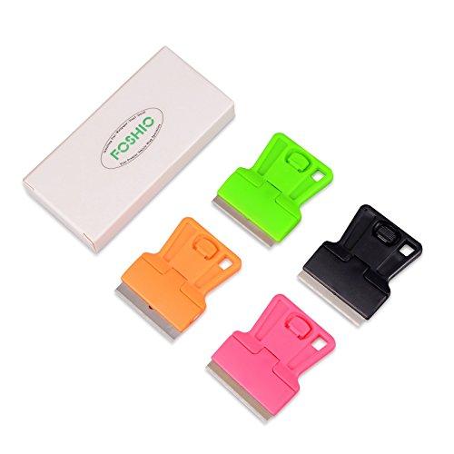 FOSHIO 4 Pack Mini Scraper with Carbon steel blades Car vinyl wrapping tint tool sticker remover kitchen scraper Fluorescent green black pink orange